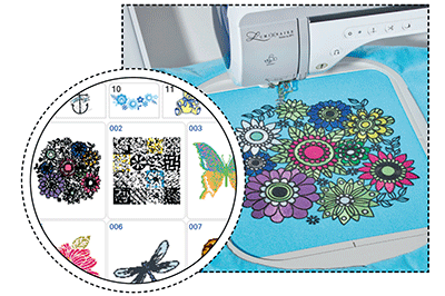 Colourful flower embroidery on blue fabric in XP1 machine