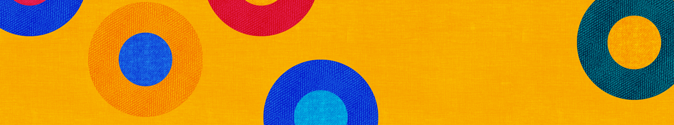 yellow background with multicoloured circles