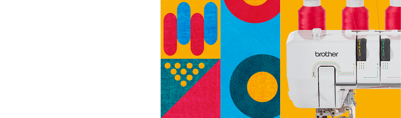 Close-up van naaimachine, veelkleurige achtergrond met patroon