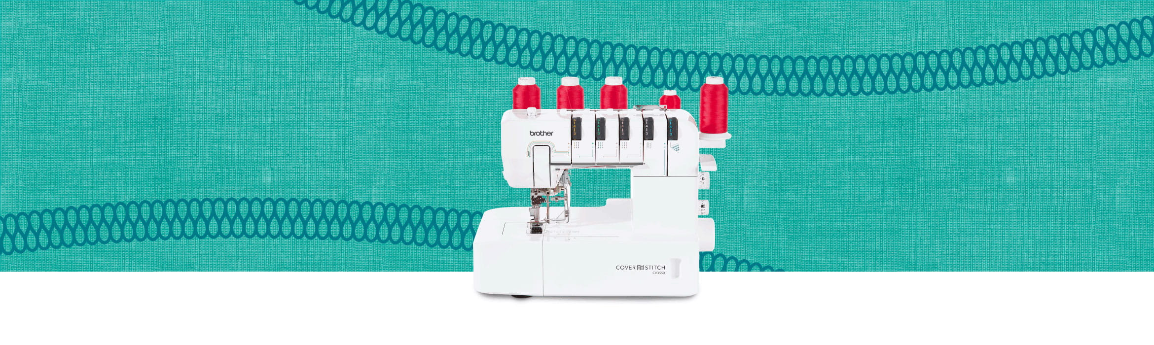 Brother coverstitch machine on green background with stitching