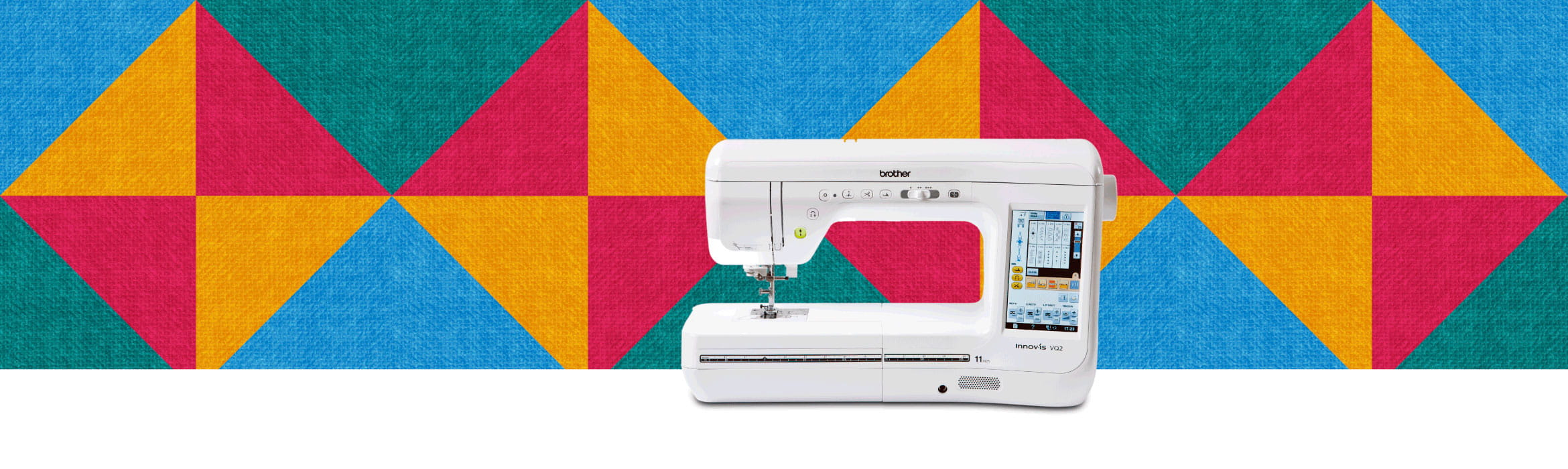 quilting machine on a multicoloured pattern background