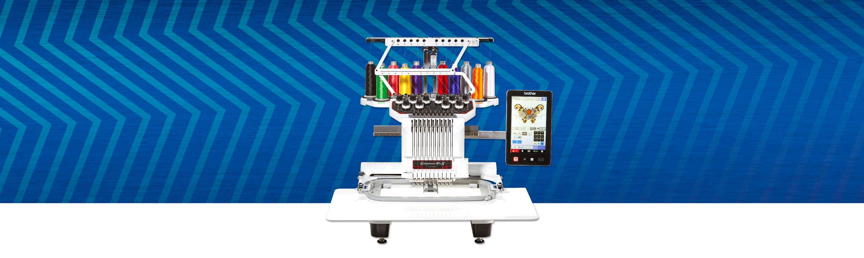Brother PR1050X embroidery machine on blue metallic zigzag background