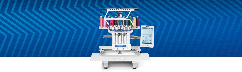 PR1055X embrodiery machine on blue zigzag background