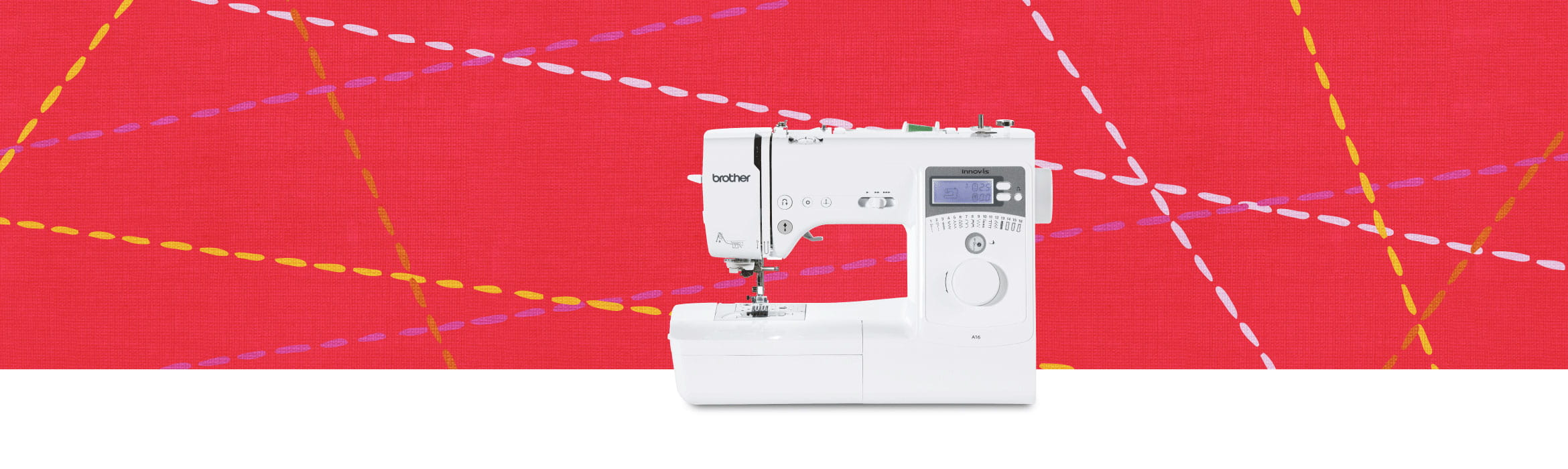 Innov-is A16 sewing machine on bright red background with stitching