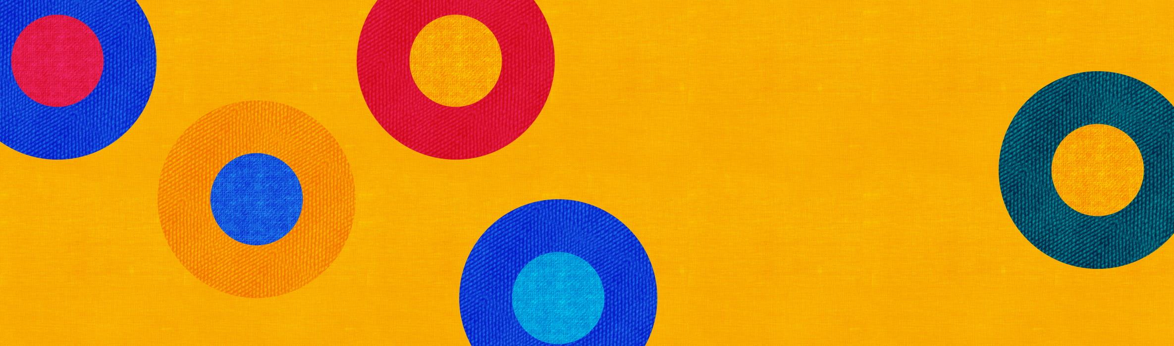 Cerchio multicolore su sfondo arancio