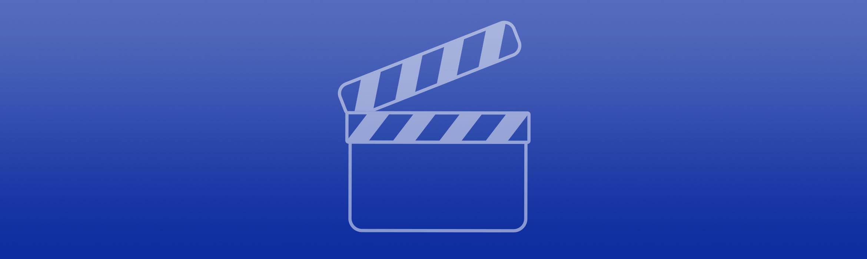 Bannière bleue avec icône vidéo