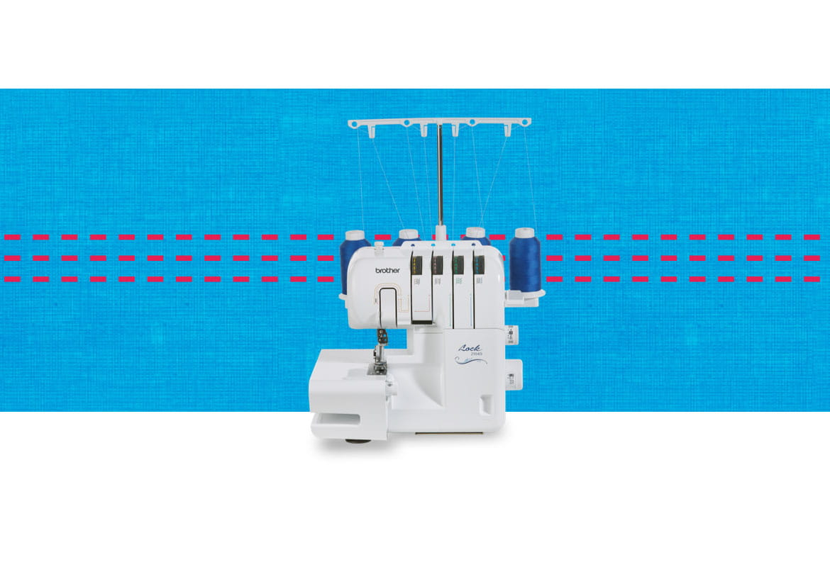 2104D overlocker machine on a blue pattern background