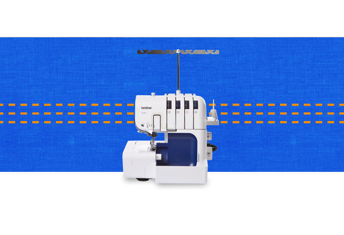 4234D overlocker machine on a dark blue pattern background