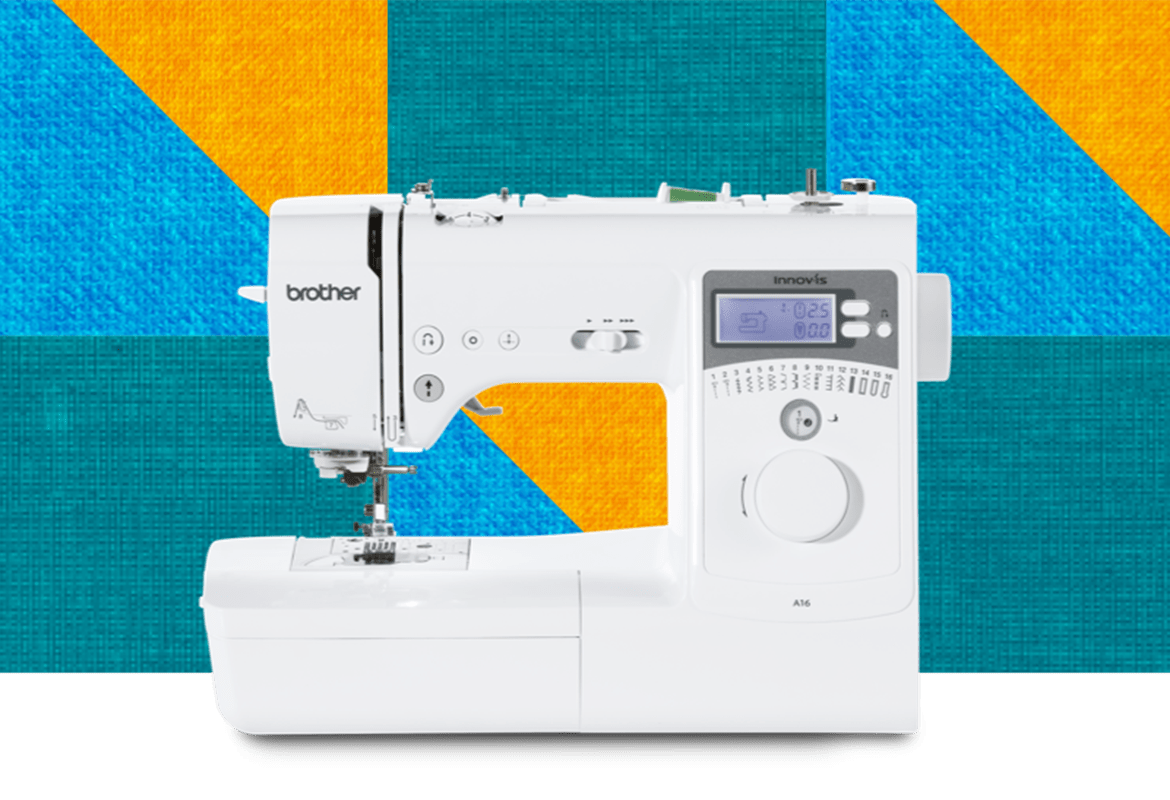 A16 sewing machine on a multicoloured square background