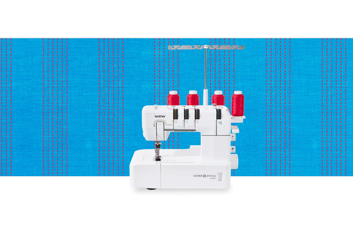CV3440 coverstitch machine on a blue pattern background