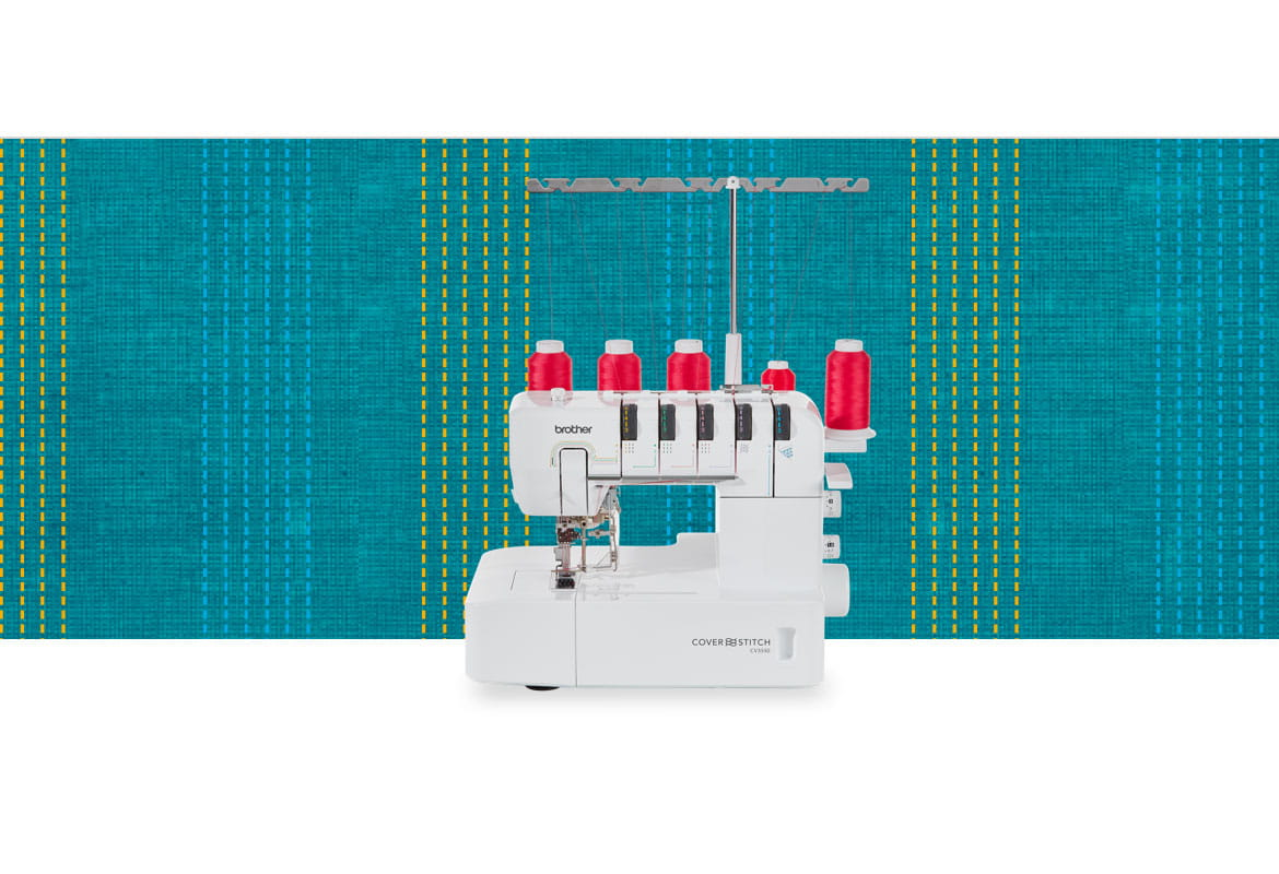 CV3550 coverstitch machine on a dark blue pattern background