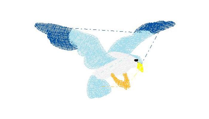 Ricamo con uccello