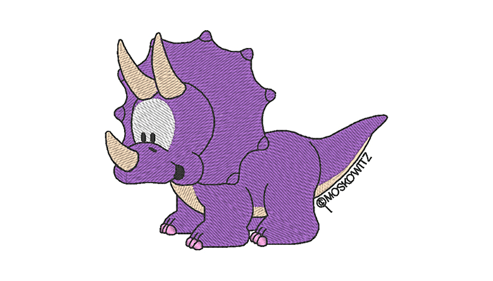 Purple dinosaur embroidery design