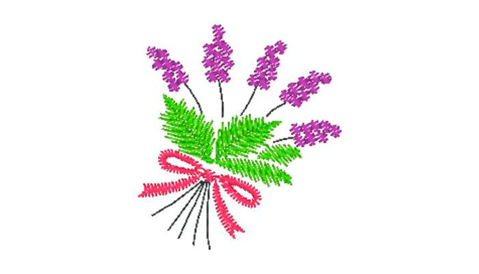 Bouquet de lavande noué avec un motif de broderie rose