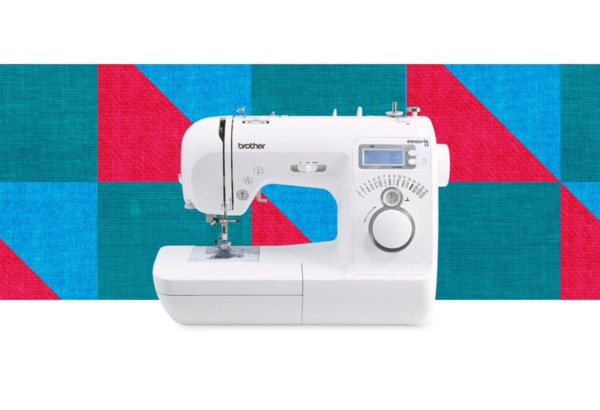 Innov-is 15 sewing machine on multicoloured square background