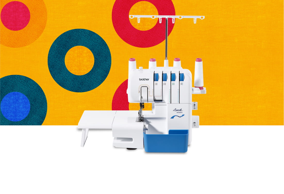 3034DWT overlocker machine on a multicoloured background