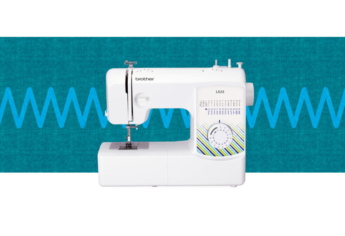 LX25 sewing machine on a blue pattern background