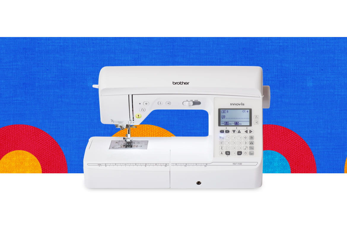 NV1100 sewing machine on a blue background with multicoloured circles
