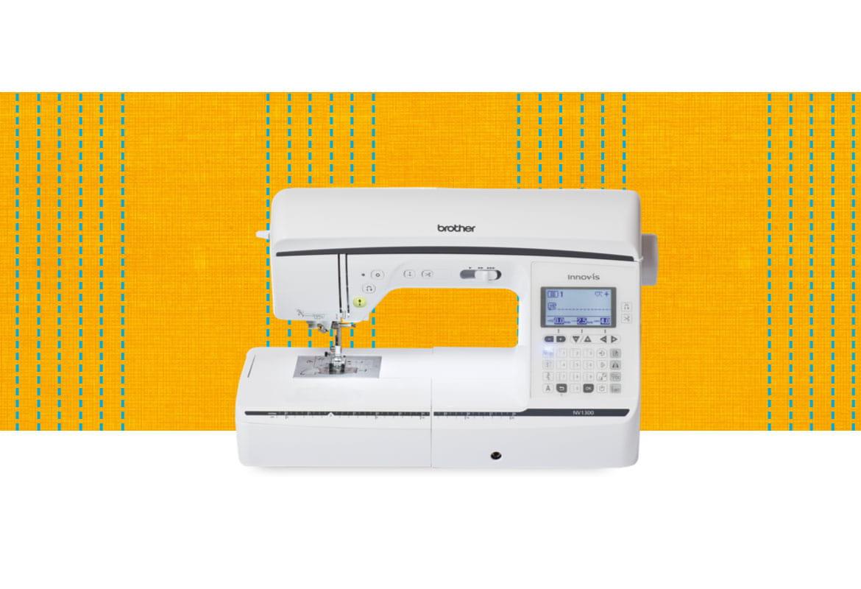 NV1300 sewing machine on an orange pattern background