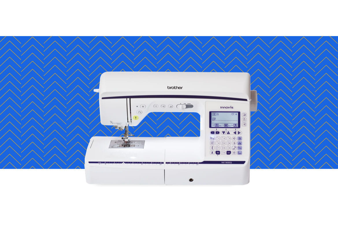 NV1800Q sewing machine on a blue pattern background