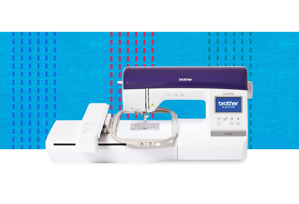 NV800E embroidery machine on a multicoloured pattern background