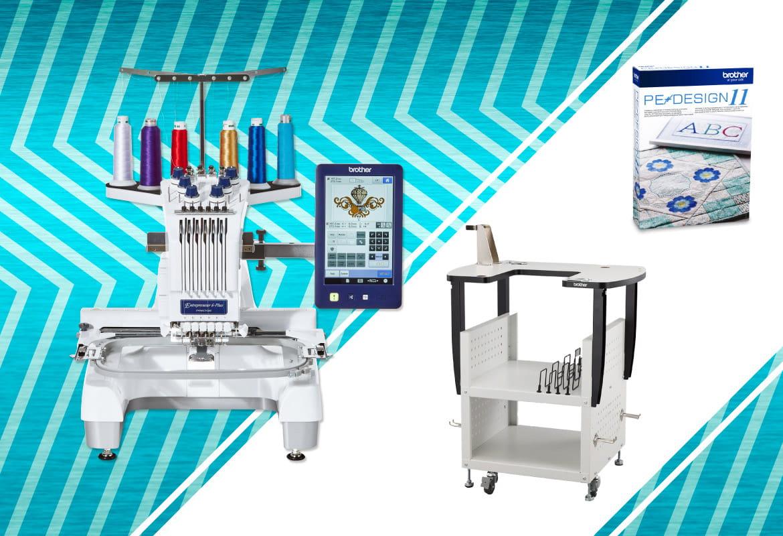 Machine à broder PR670E, support et logiciel sur fond bleu