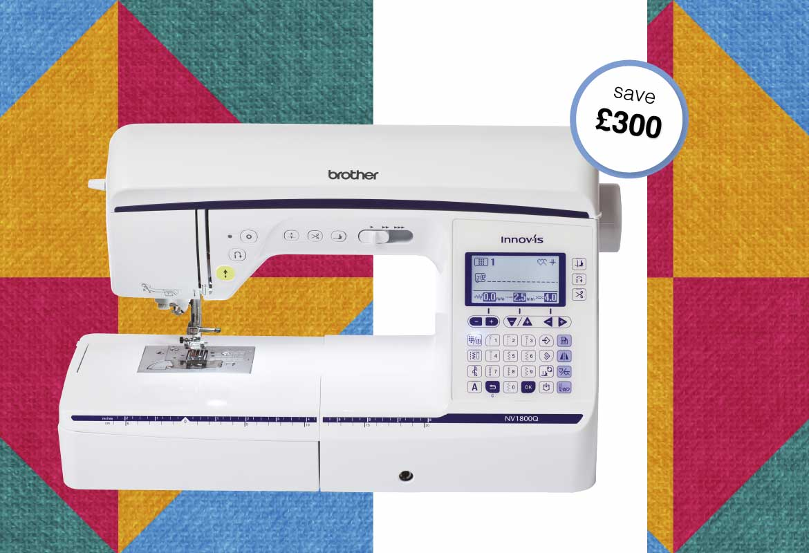Brother Innov-is NV1800Q on multicolour quilt background
