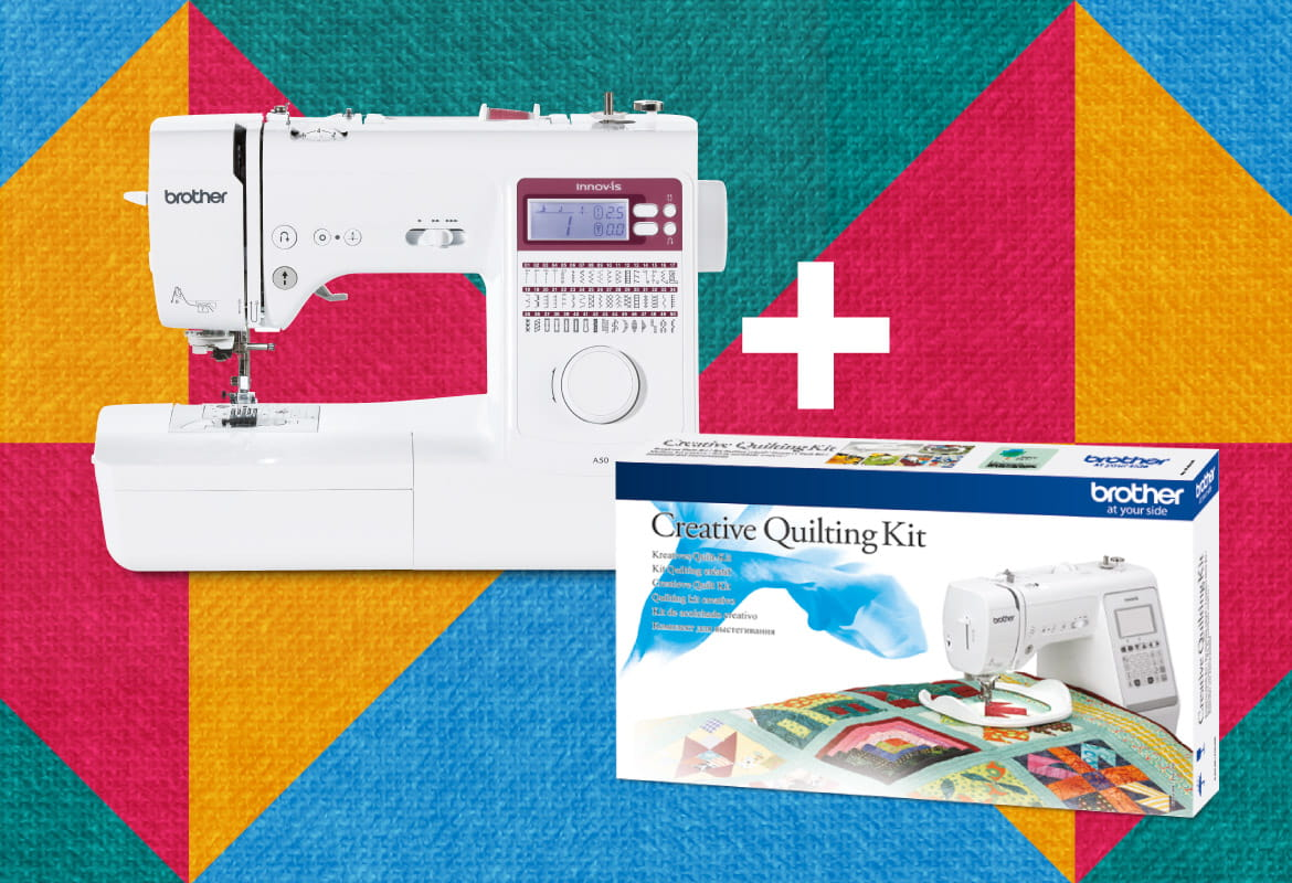 Brother Innov-is A50 and Quilt Kit on multi coloured background