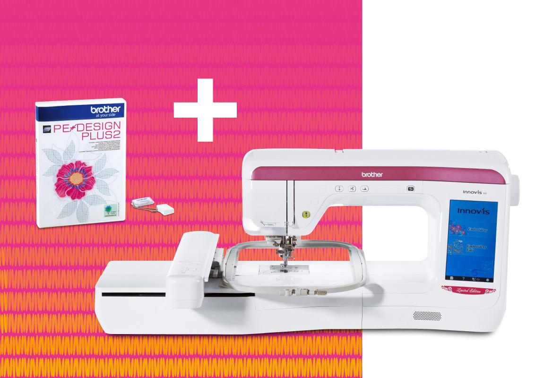 Machine à broder V3LE avec logiciel PE Design Plus sur fond rose