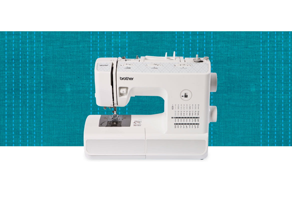 XR37NT sewing machine on a blue pattern background