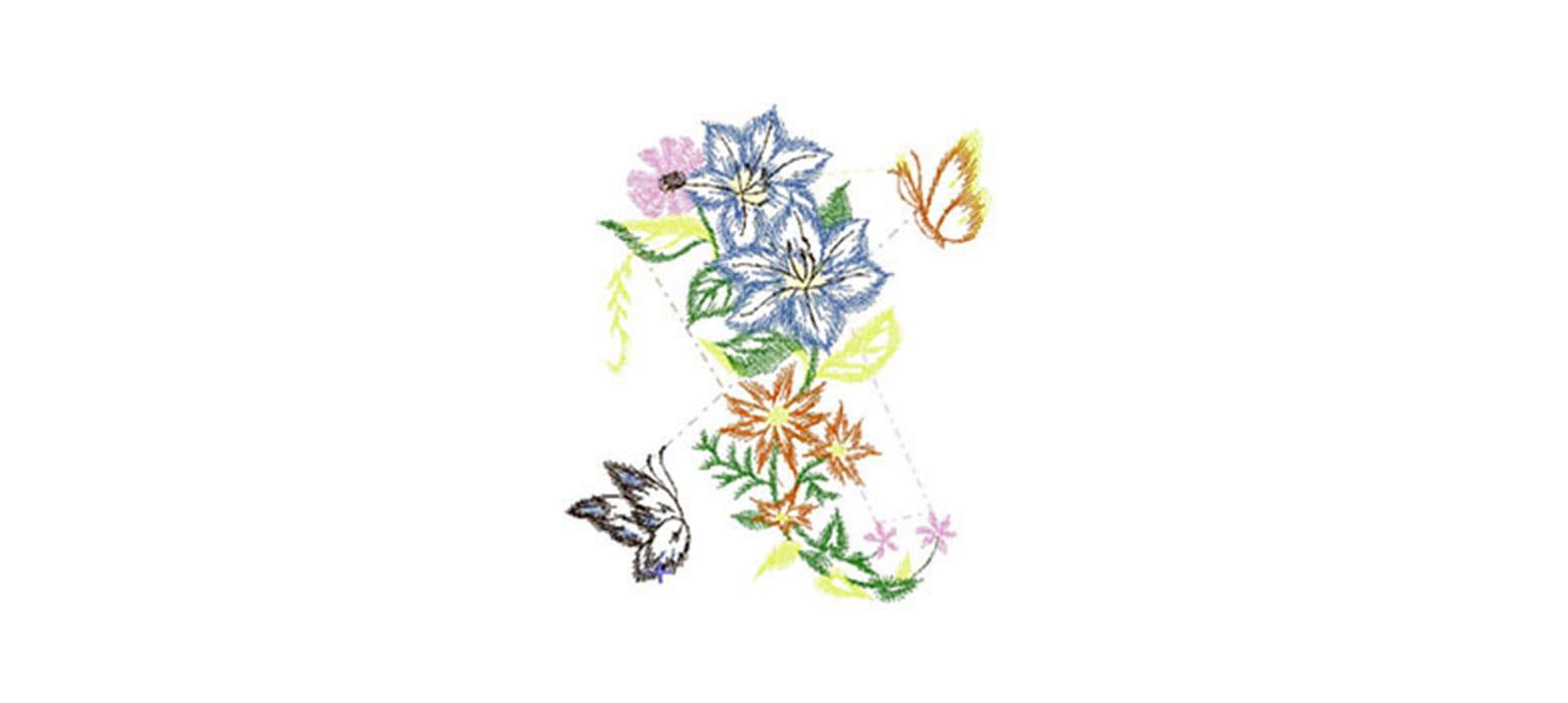 Ricamo con bouquet di fiori