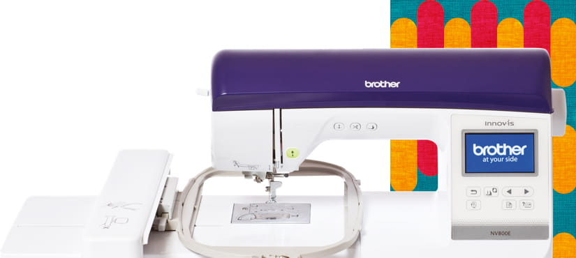 Embroidery machine on a pattern background