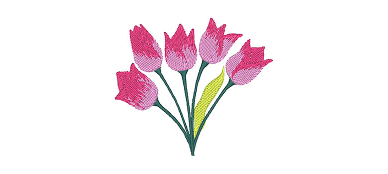 Pink tulips embroidery design