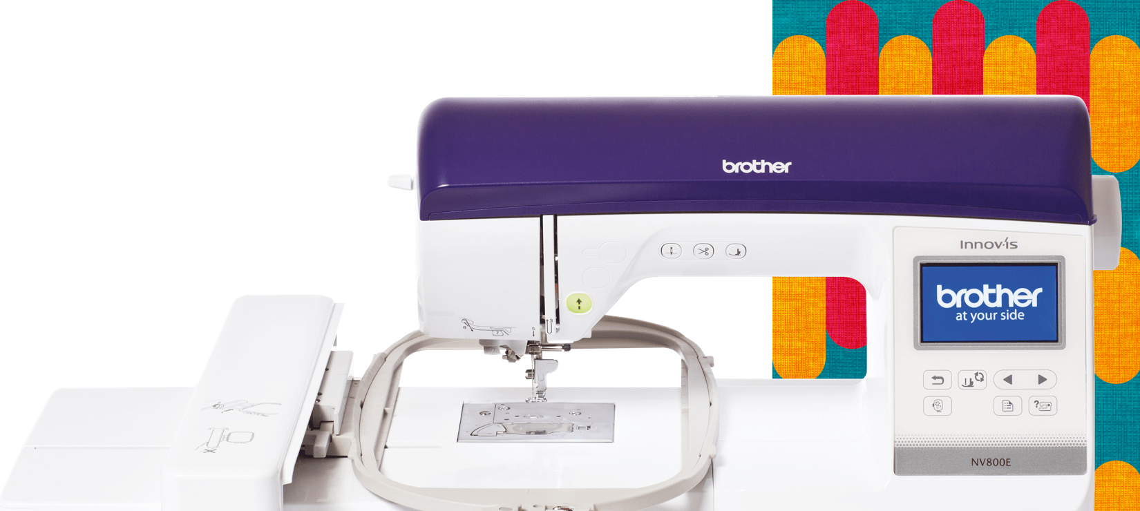 Innov-is 800E embroidery machine on a muilticoloured background