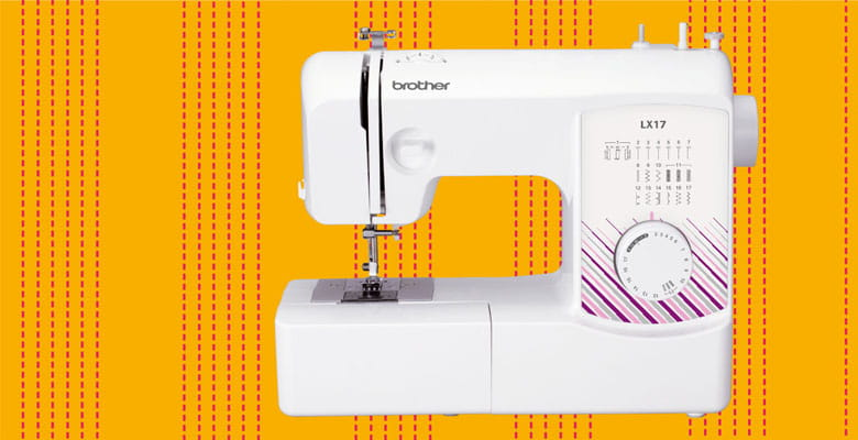 Brother LX17 sewing machine on yellow stitched background