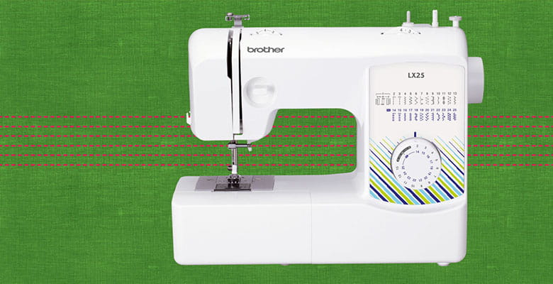 Brother LX25 sewing machin on green and red stitched background