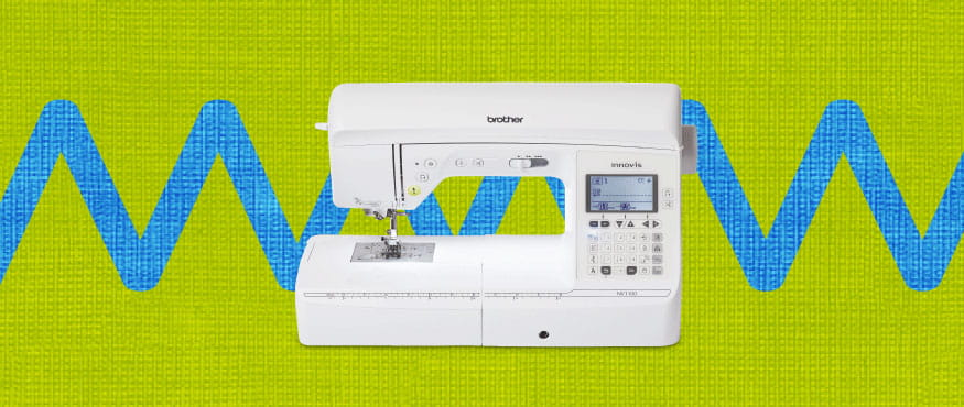 sewing machine on a multicoloured pattern background
