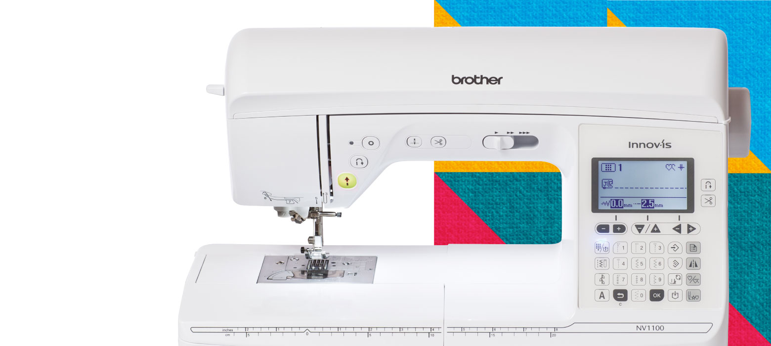 Innov-is NV1100 sewing machine on bright block background
