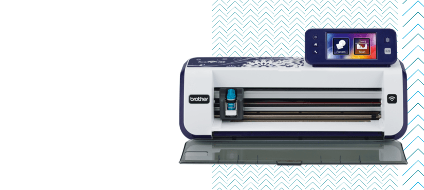 Machine ScanNCut, witte en blauwe achtergrond met patroon