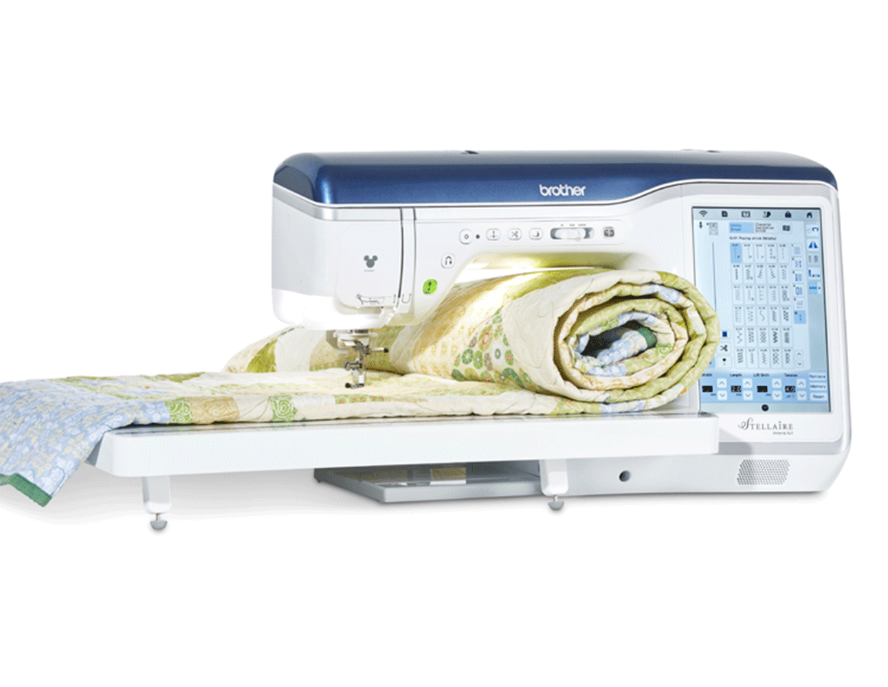 Rolled up quilt in Stellaire XJ1 sewing and embroidery machine