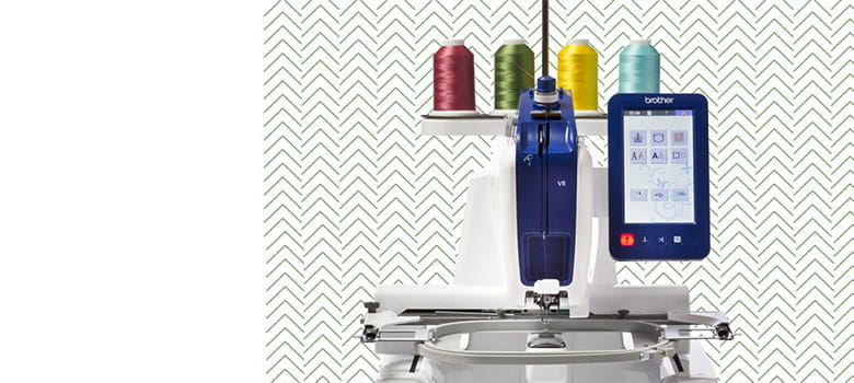 Brother VR embroidery machine on zigzag background