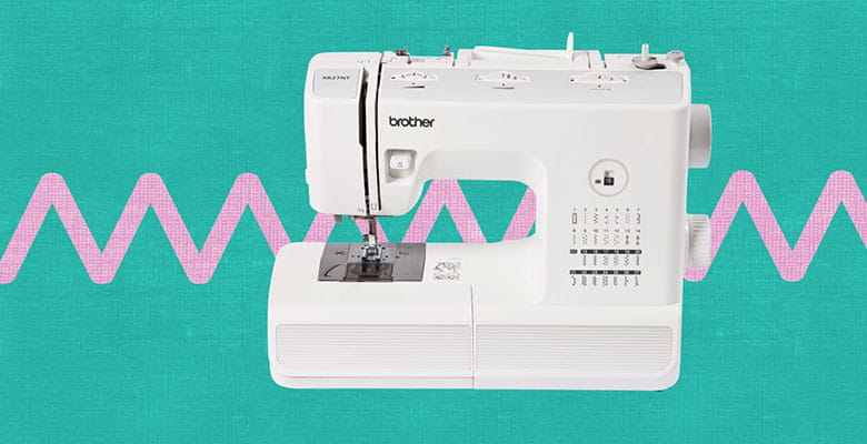 Brother XR27NT sewing on green and pink zigzag background