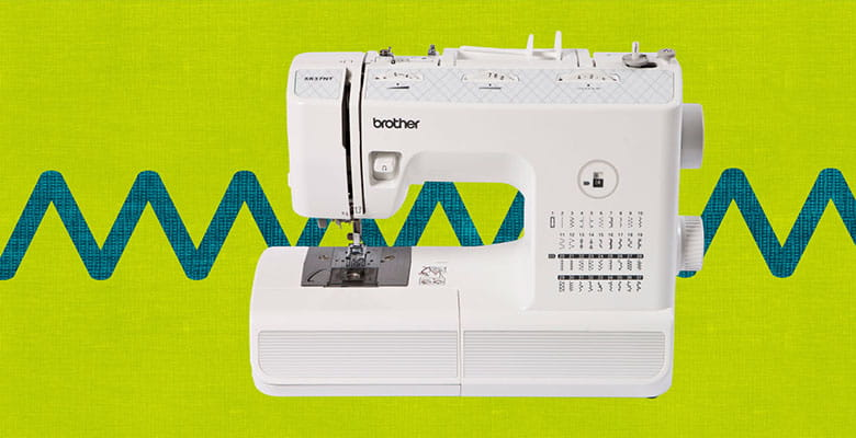 Brother XR37NT sewing machine on bright green background