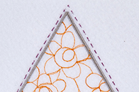 Square and triangle embroidered with different fills