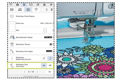 Flower embroidery in Innov-is XP1 machine