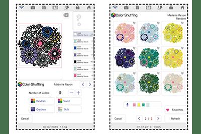 Screen showing colour shuffling function for XP1