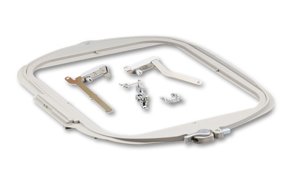 Frame and couching kit accessories on white background