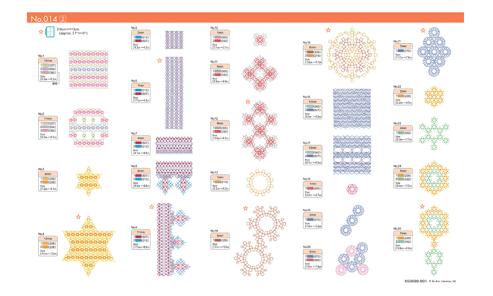Collection de motifs de broderie n° 14 BLECUSB14 7