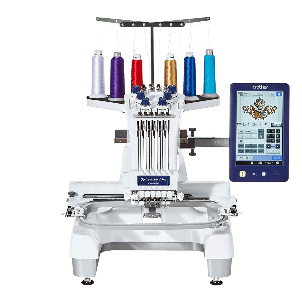 Entrepreneur PR670E 6-needle embroidery machine for semi-pro use